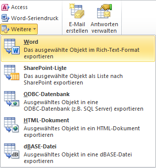 Ribbon-Elemente zum Export nach Word