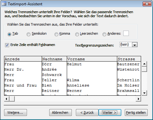 Der Textimport-Assistent