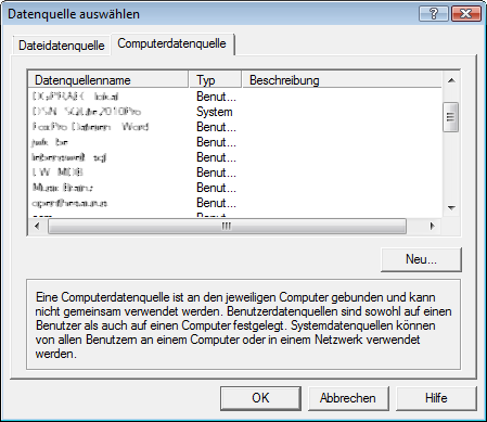 Der in Access  gestartete Windows-ODBC-Administrator