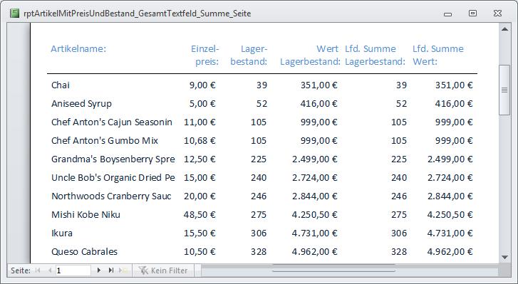 access bericht tabelle