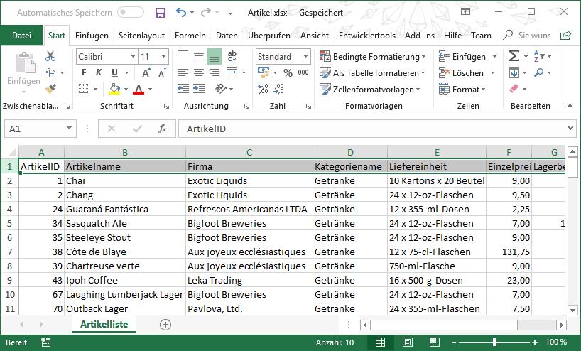 Exceldaten per SQL und DAO - Startseite